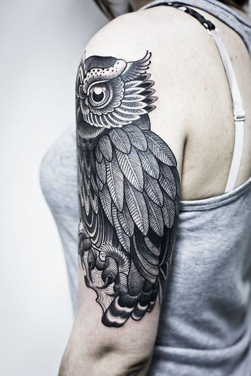 Nice owl tattoo by Pepe Vicio