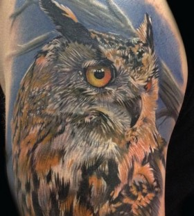 Nice owl tattoo by Phil Garcia