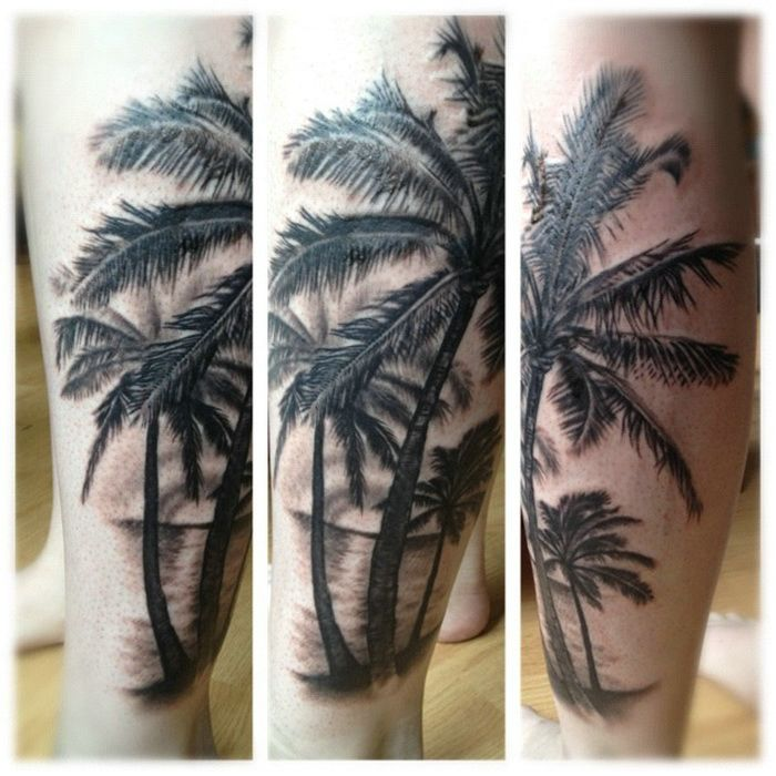 Nice palm tree leg tattoo