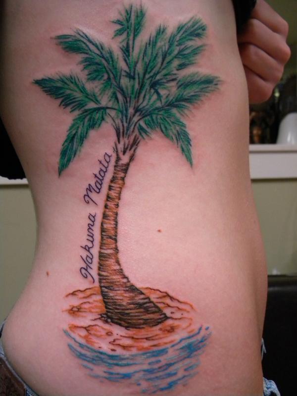 Nice palm tree side tattoo