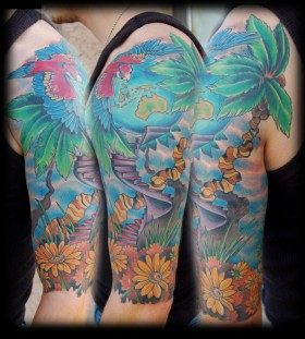 Nice parrot tattoo design
