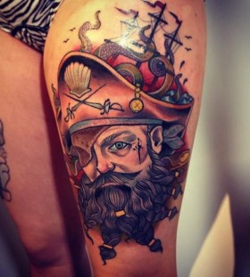 Nice pirate tattoo by Alex Dorfler