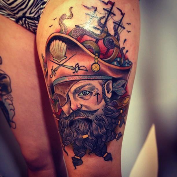Nice pirate tattoo by Alex Dorfler