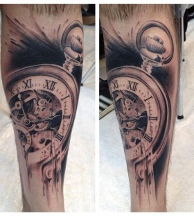 Nice pocket watch tattoo by Florian Karg