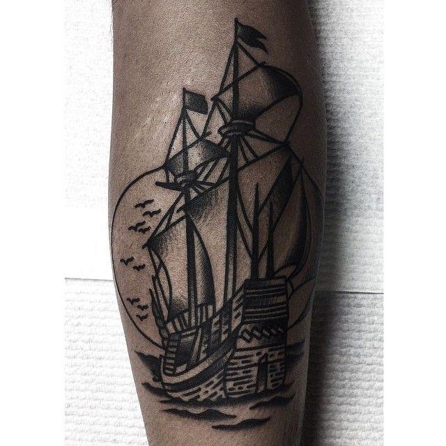 Nice ship tattoo by Charley Gerardin