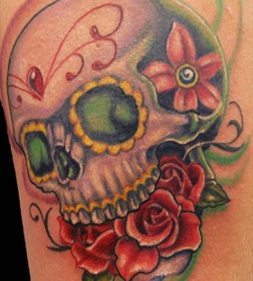 Nice skull and roses tattoo