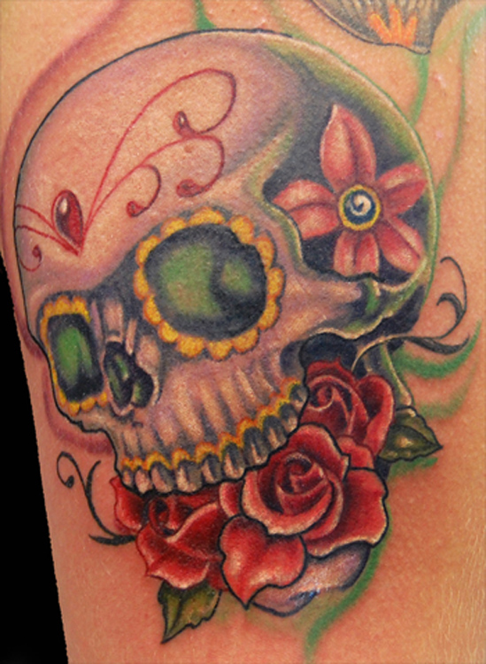 Nice skull and roses tattoo