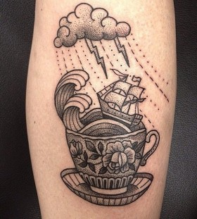 Nice storm in a teacup tattoo by Susanne König