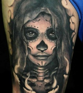 Nice sugar skull tattoo by Riccardo Cassese