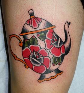 Nice teapot leg tattoo