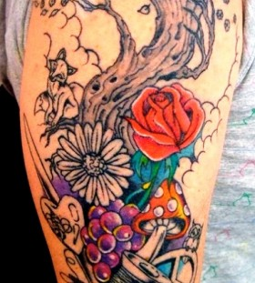 Nice tree and mushroom tattoo