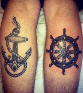 Nice wheel and anchor tattoos