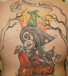Nightmare before christmas back tattoo