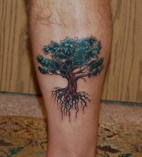 Oak tree leg tattoo