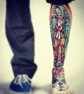 Old School Santa Muerte tattoo