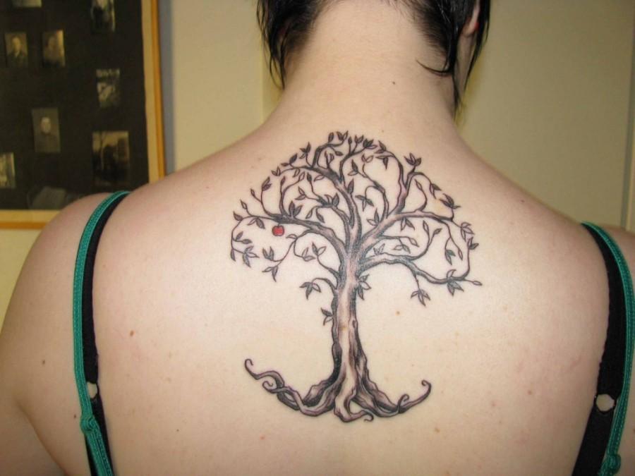 Old apple tree back tattoo