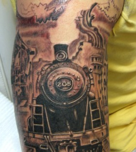 Old train arm tattoo