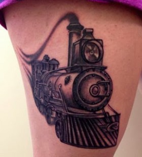Old train leg tattoo