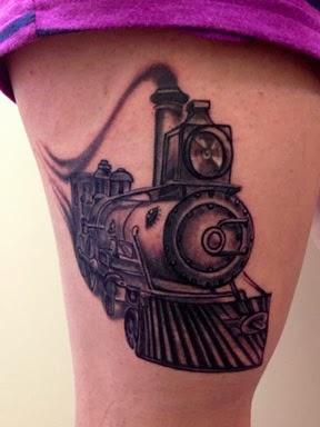 Old train leg tattoo