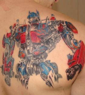 Optimus Prime back tattoo