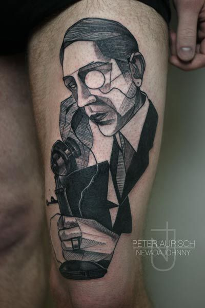Origami men's telephone tattoo