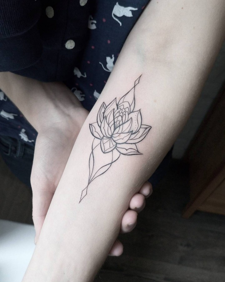 ornamental lotus tattoo by dasha_sumtattoo