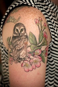 Owl and flowers tattoo by Alice Kendall