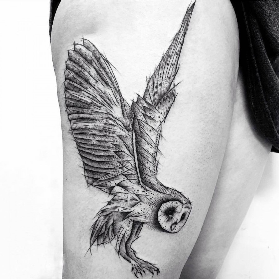 owl tattoo by domatattoo