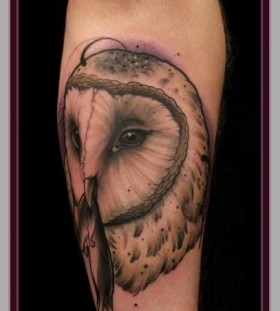Owl with a mouse tattoo