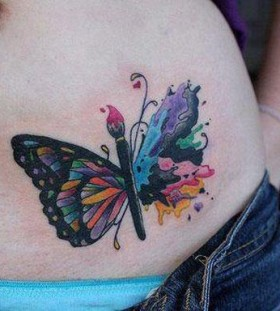 Paint brush butterfly tattoo