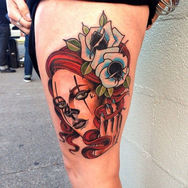 Painted face lady tattoo by Jon Mesa