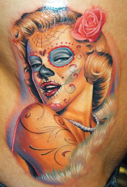 Painted face woman tattoo by James Tattooart
