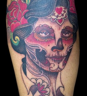 Painted face woman tattoo by Pepe Vicio