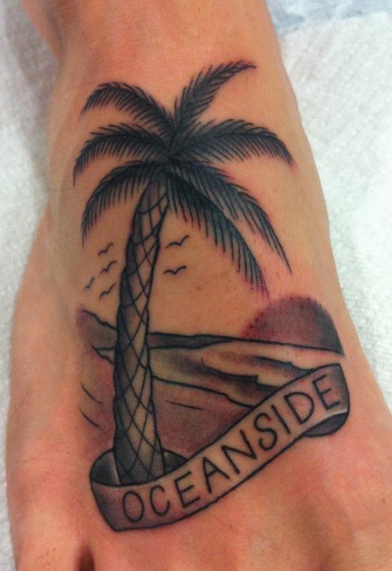 Palm tree foot tattoo