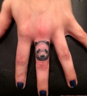Panda finger tattoo by Jon Mesa