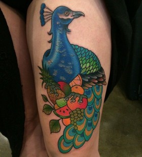 Peacock and fruit tattoo by Clare Hampshire