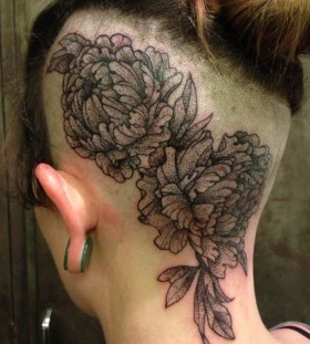 Peonies head tattoo by Rachel Hauer