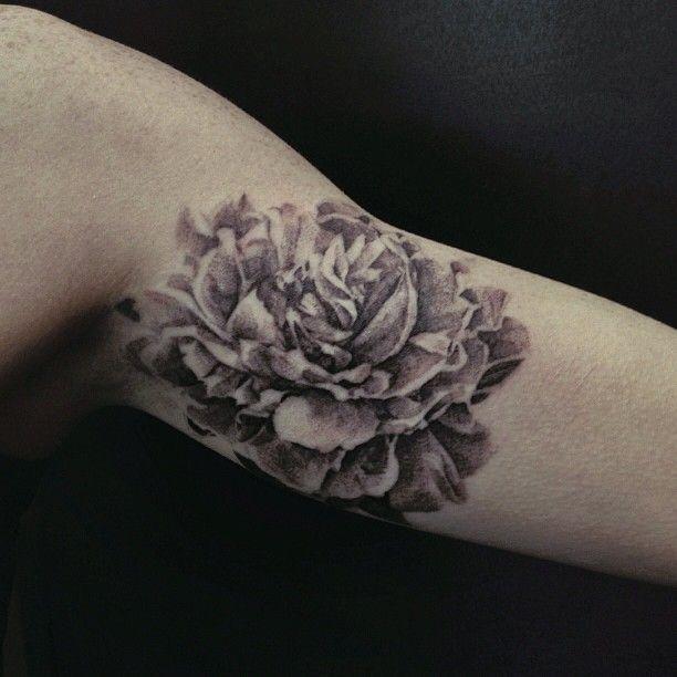 Peony arm tattoo by David Allen