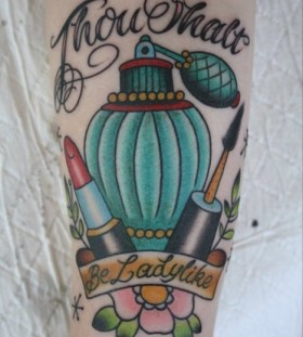 Perfume bottle and lipstick tattoo