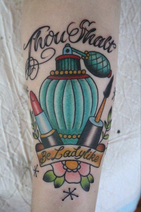 Perfume bottle and lipstick tattoo