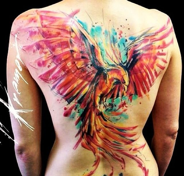 Phoenix tattoo watercolour on back