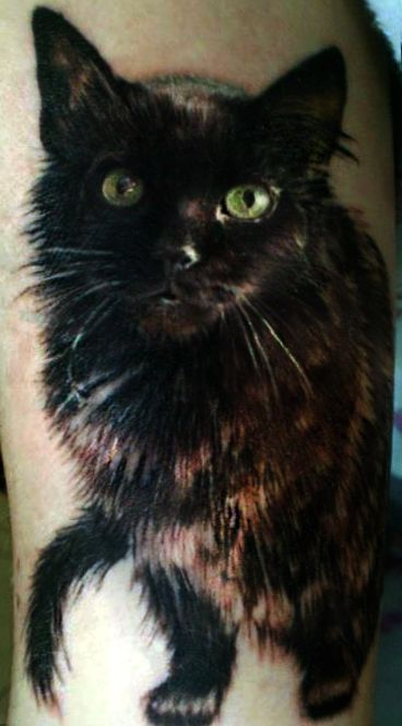 Photorealistic black cat tattoo