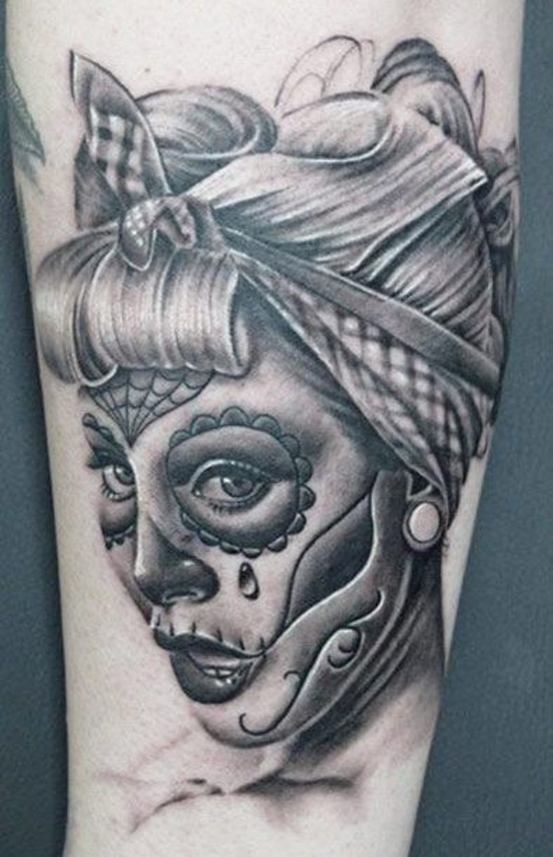 Pin up Santa Muerte tattoo