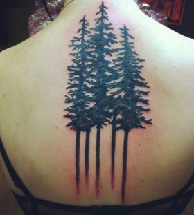 Pine tree back tattoo