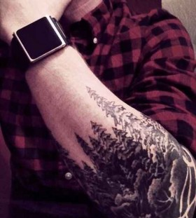 Pine tree forest tattoo