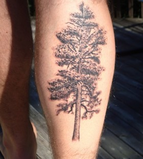Pine tree leg tattoo