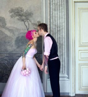 Pink hair bride tattoo