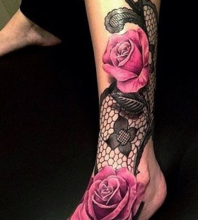 Pink pretty lace tattoo