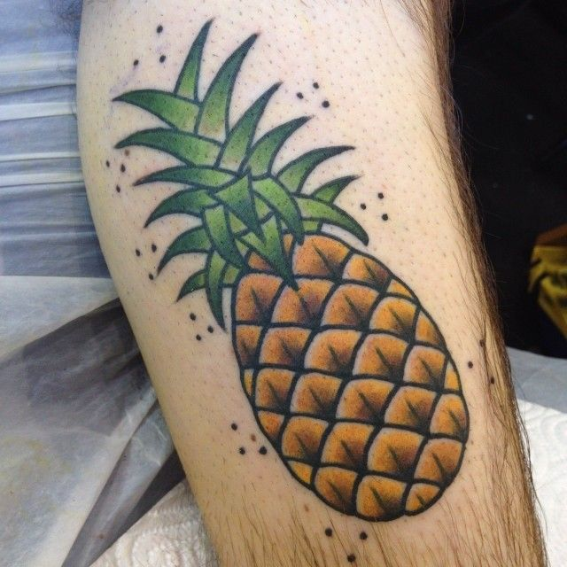 Pinneaple yellow fruit tattoo