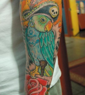 Pirate parrot arm tattoo